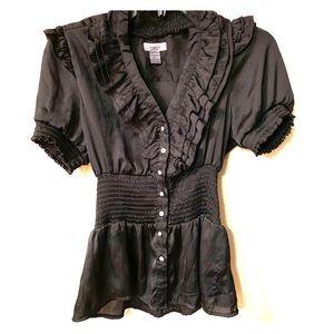 Black Satin Short Sleeve Dress Top - Size L
